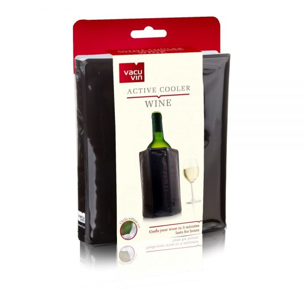Vacu Vin Active No-Ice Wine Cooler Jacket, Glossy Black Finish